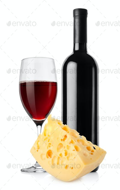 Wine and dutch cheese isolated