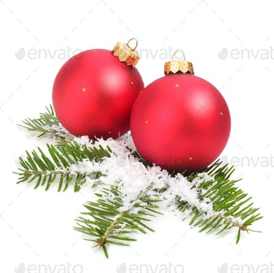 Christmas Balls and Spruce Branch