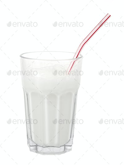 Glass of milk with straw