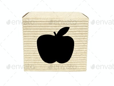 Cartridge box with apple cut-out front view