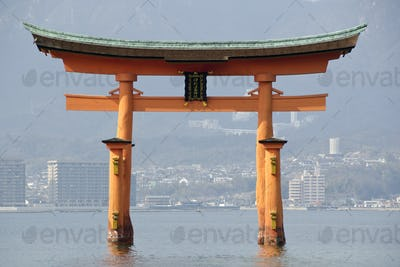 Tori gate at Itsukushima Shrine