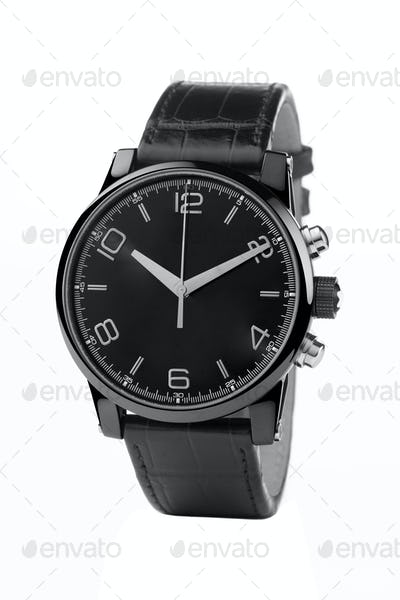 front view of luxury watch, black leather and silver