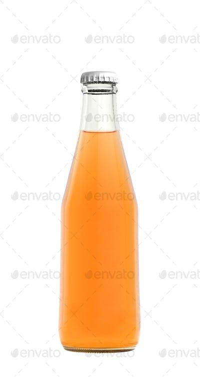 Orange juice drink in glass bottle