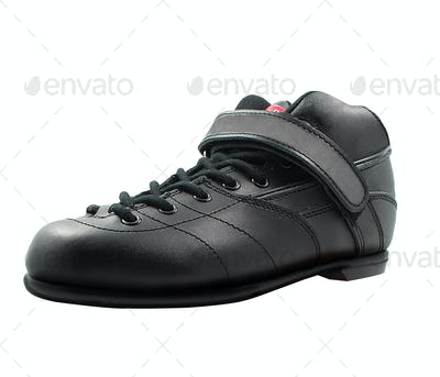black lace-up shoe made of leather