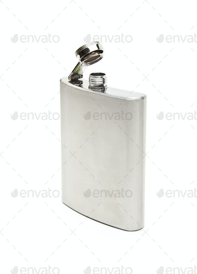 front view of metallic flask on white background