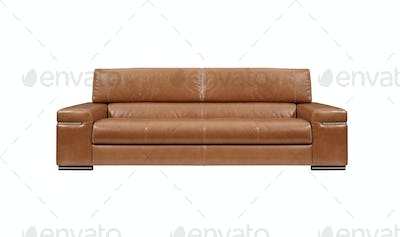 brown leather sofa isolated