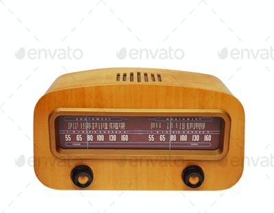 Vintage wooden fashioned radio
