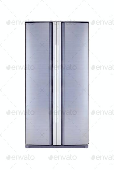 double door freezer isolated on white