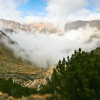 mountain valley in fog