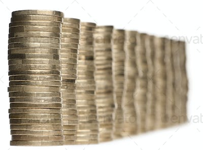 Stacks of 1 Euros Coins in front of white background