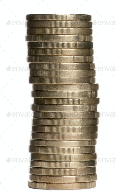 Stack of 1 Euros Coins in front of white background