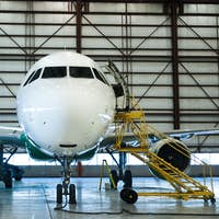 Aircraft extensive C-check in the hangar