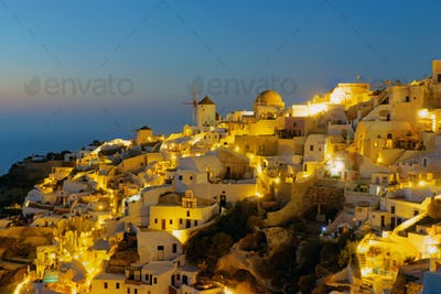 Oia on Santorini island at night