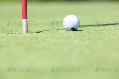 Golf ball resting by the hole