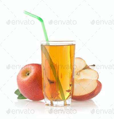 apple juice in glass on white