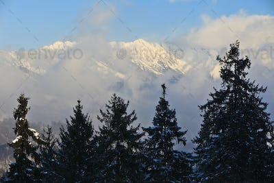 mountain clouds in winter