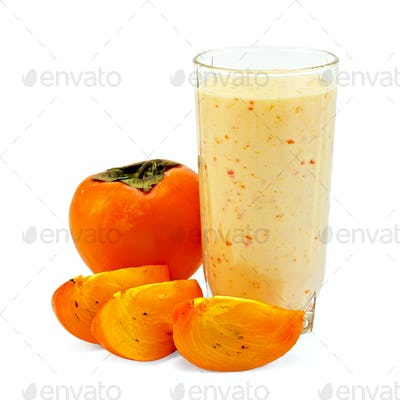 Milkshake with whole persimmon