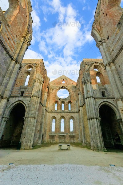 Saint or San Galgano uncovered Abbey Church ruins. Tuscany, Italy