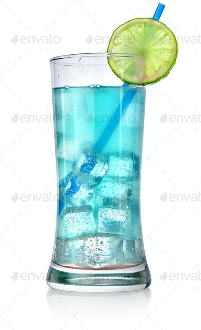 Blue cocktail in a big glass
