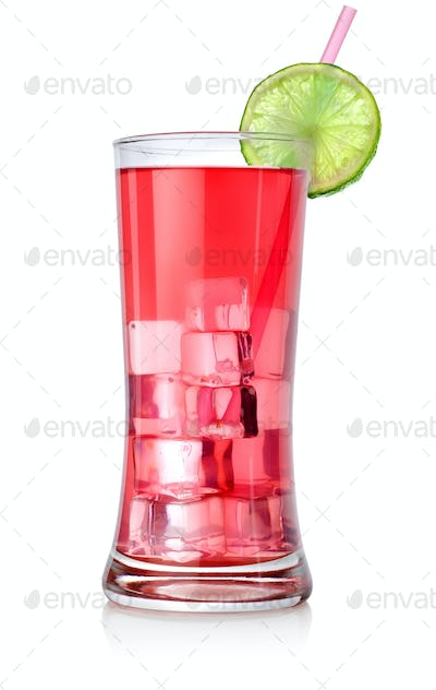 Red cocktail in a big glass