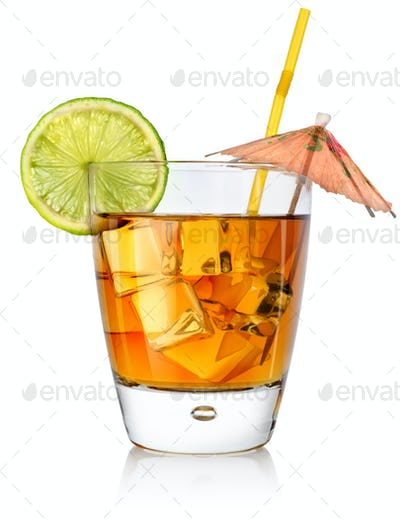 Amber cocktail in a glass