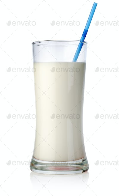 Milk cocktail in a big glass