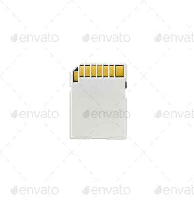 an SD memory card isolated on a white background