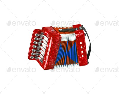 Red accordion isolated