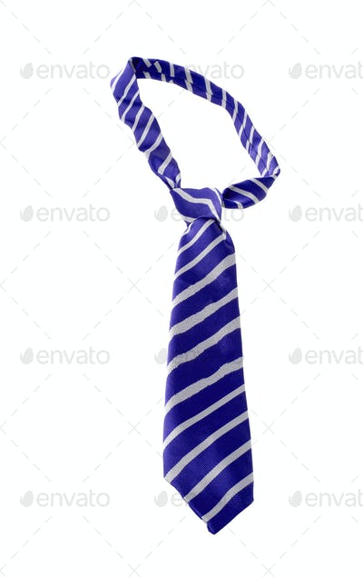 blue striped necktie on a white background