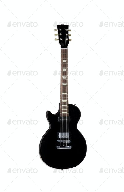 Beautiful black electric guitar isolated on white