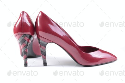 Red women shoes isolated on white