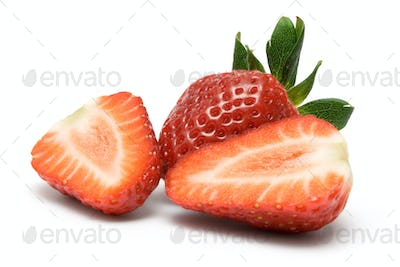 Strawberry Slices Isolated on a White Background