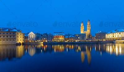 Zurich and the Limmat river at night