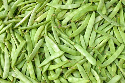Green beans on a market