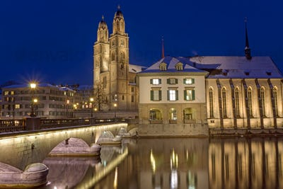 The river and the Minster in Zurich