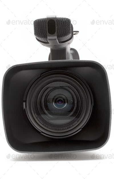 Digital Video Camera Close Front View Isolated on a White Background