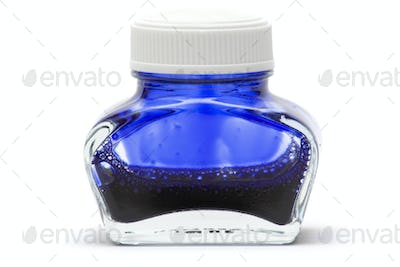 Blue Ink Isolated on a White Background