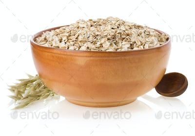 bowl of oat flake on white