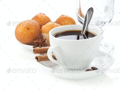 cup of coffee with sweets
