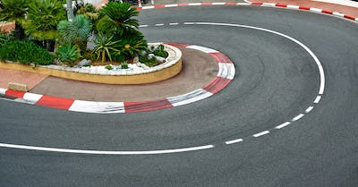 Old Station hairpin bend race asphalt, Monaco Grand Prix circuit