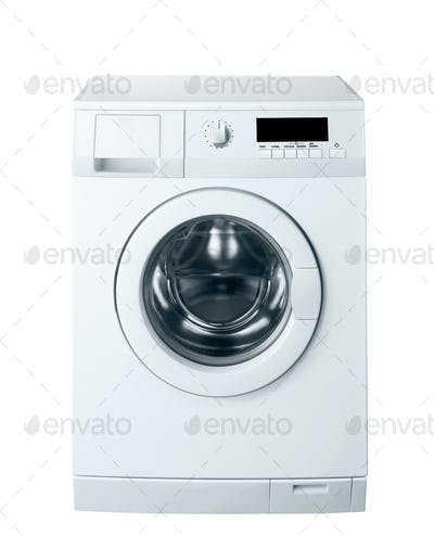 washing machine in action, with clipping path