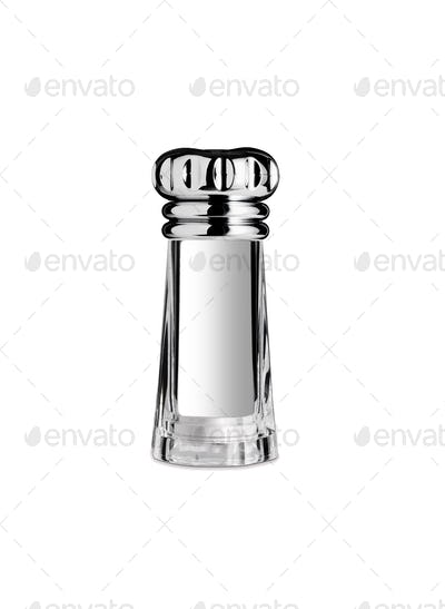 Glass saltcellar with salt insulated on white background