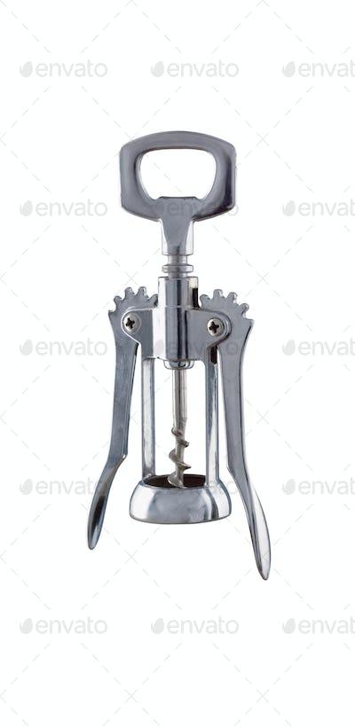 Cork screw on white background