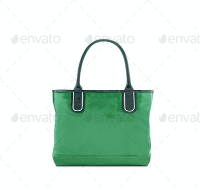 Green, reusable shopping bag