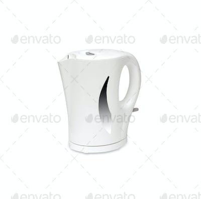 White electric kettle isolated on white