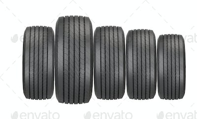 Column of tires isolated on the white background