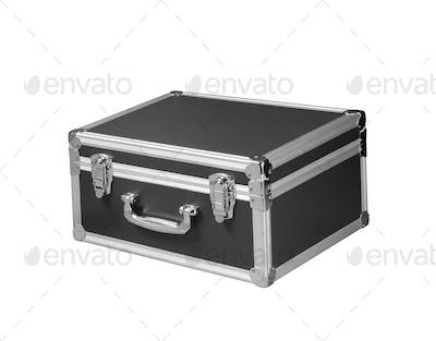 silver chromed make up box on white background