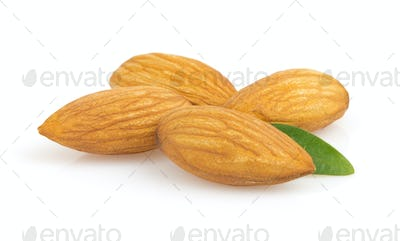almond nut on white