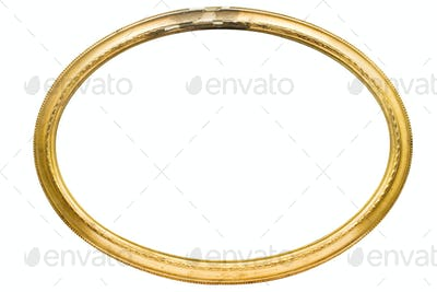 Damaged Oval Picture Frame with Clipping Path Isolated on a White Background
