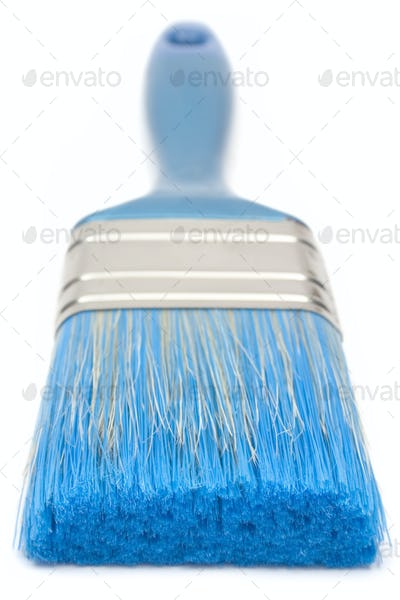 Blue Paint Brush Front View Isolated on a White Background
